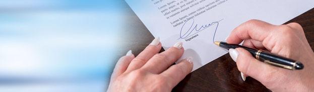 Rechtsformen - Unterschrift Gesellschaftsvertrag