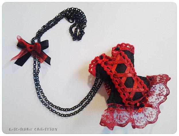 commande personnalisée collier noir et rouge