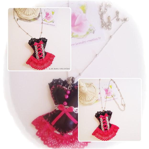 Commande personnalisée pour un mariage Collier corset noir et fuchsia