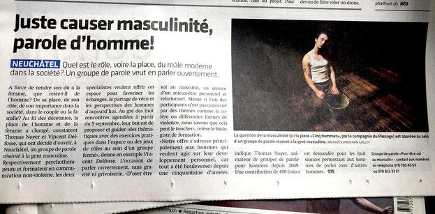 Article de presse dans le journal Arcinfo l'Express du 8 août 2018 sur le Groupe Homme de Neuchâtel