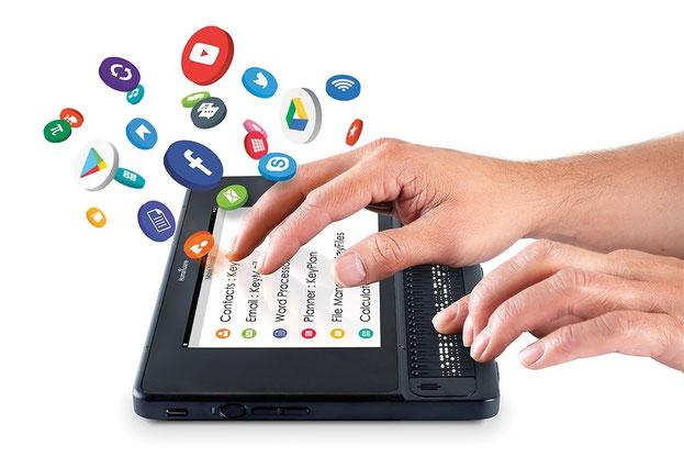 elektronska beležnica z zaslonom občutljivim na dotik in brajevo vrstico ter operacijskim sistemom Android