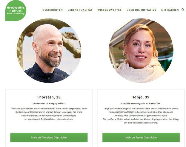 """Blick auf die Seite der Initiative: Geschichten und Gesichter zum Thema (Quelle: """"homöopathie-natürlich.de"""")"""