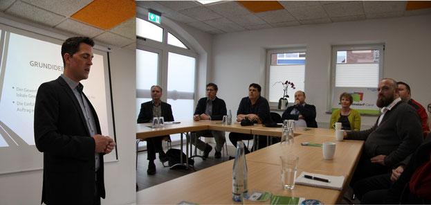 Marco Hausschild, Vorsitzender des Gewerbevereins Neu Wulmstorf, eröffnet die Pressekonferenz zum Start der Neu Wulmstorf Card im Rising Soul Center am 28. 02.2019
