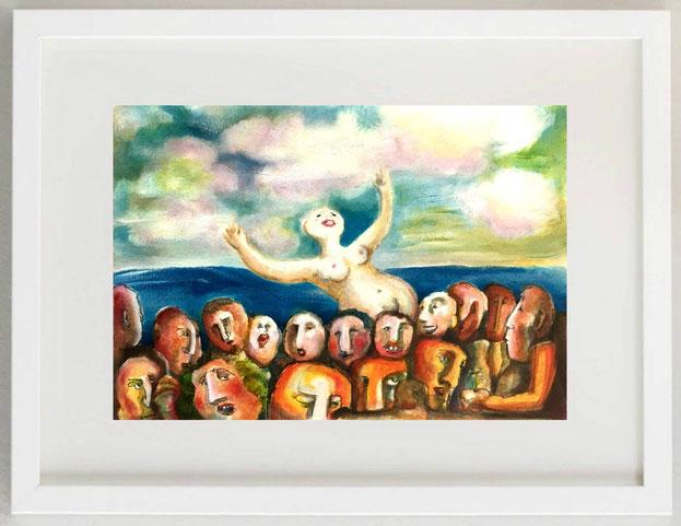 93 / ELISABETTA SBIROLI, IL MARE BRUCIA LE MASCHERE, 2020, olio, pigmenti, grafite su carta, 30 x 20