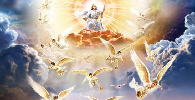 le Fils de l'homme va venir dans la gloire de son Père, avec ses anges, et alors il traitera chacun conformément à sa manière d'agir. Lorsque le Fils de l'homme viendra dans sa gloire avec tous les [saints] anges, il s'assiéra sur son trône de gloire.