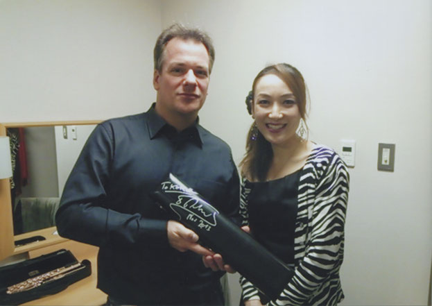 楽屋にてエマニュエル・パユ氏とKOKORO