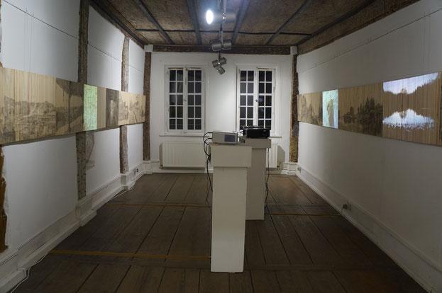 Zeitarchive 2015, Acrylfarbe und Videoprojektion auf Holz