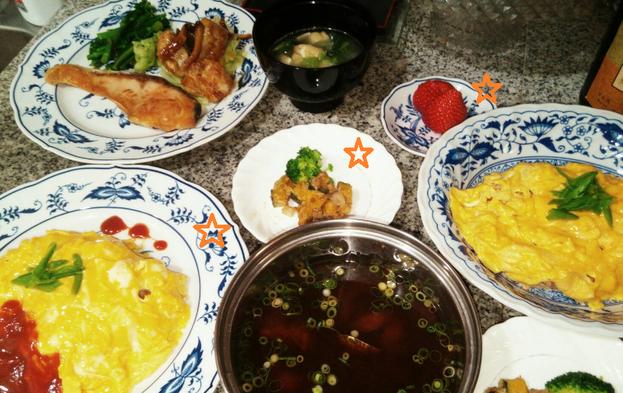大阪兵庫で家政婦・家事代行サービスで食事作り昼食オムレツ夕食鮭の塩焼き