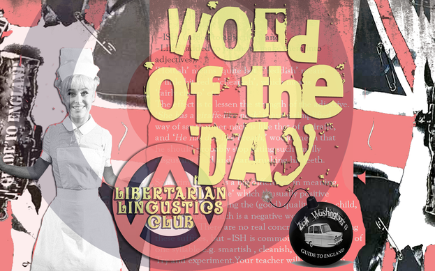 'Word of the Day' written on graphic collage of British cultural symbols.