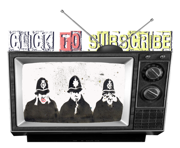 graphic of old vingage tv with policemen which links to youtube subscription