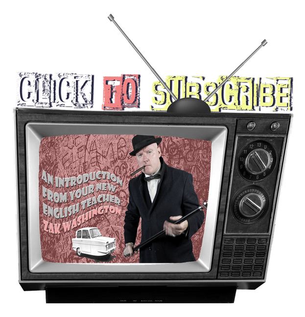 Graphic of an old television with an image of maverick English teacher ZakWashington