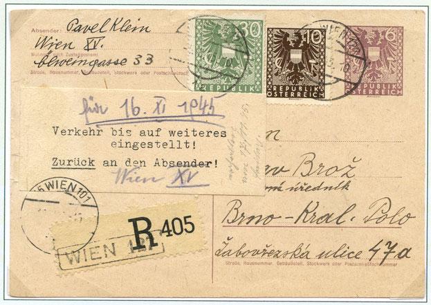05.11.1945: 6 Pfg Ganzsachen Postkarte mit 40 Pfg-Ergänzung für die Rekogebühr.