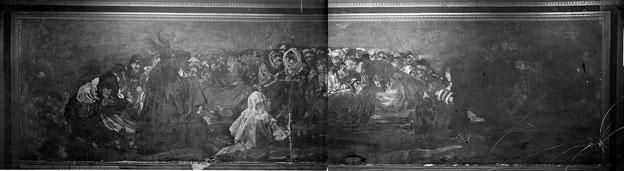 キャンバスに移転される前に写真撮影された壁画状態の作品。