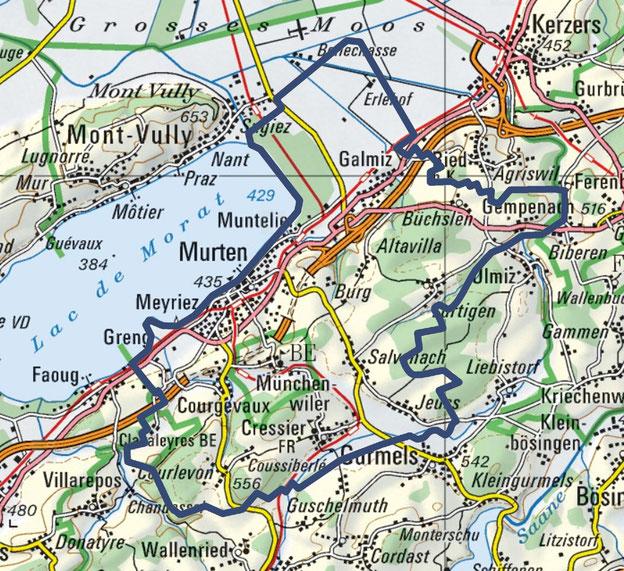 La zone d'extension de l'Association du service de sapeurs-pompiers de la région de Morat recouvre le territoire d'onze communes politiques.