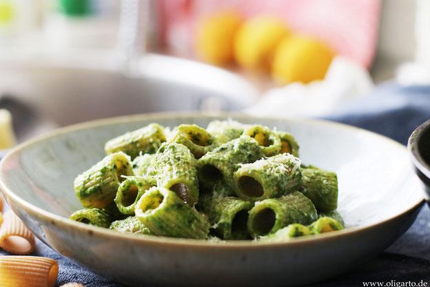 Oligarto Spinatpesto mit Vollkornpasta Rezepte Kochen mit Olivenöl