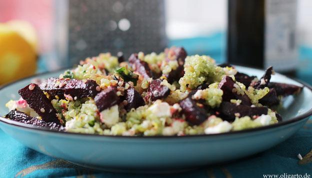 Rotte Beete mit grüner Quinoa und Fetakäse  Oligarto Rezepte