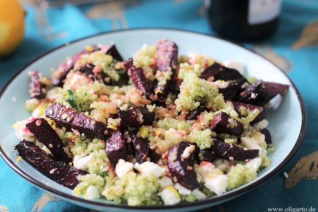 Grüne Quinoa mit Rote Beete und Fetakäse Oligarto Blogzine