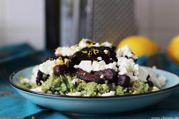 Quinoa mit Kräuterpesto mit Rote Beete und Fetakäse Oligarto Rezepte