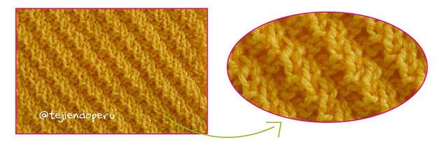 Punto elástico en diagonal tejido a dos agujas o palitos