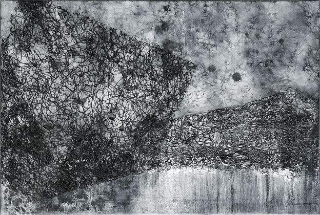 Katharina Lehmann, Crossing the Bridge, 51 x 76 cm, 2020 · Acrylic, thread, pencil on canvas