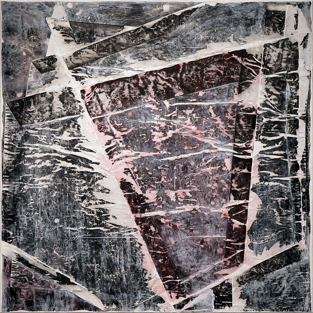 Katharina Lehmann, Layers, 120 x 120 cm, 2019 · Acrylic ink, paper on canvas