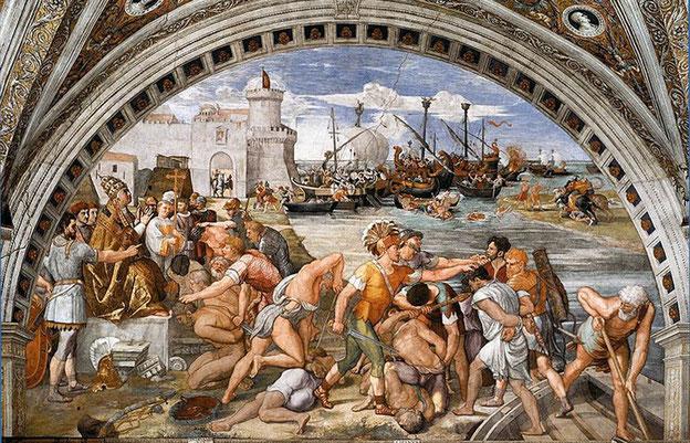 """RAFFAELLO (bottega), La battaglia di Ostia (1514-1515), che vide contrapposte le navi della """"Lega Campana"""", benedette dal papa Leone IV, e la flotta saracena rimasta sconfitta (estate 849)"""