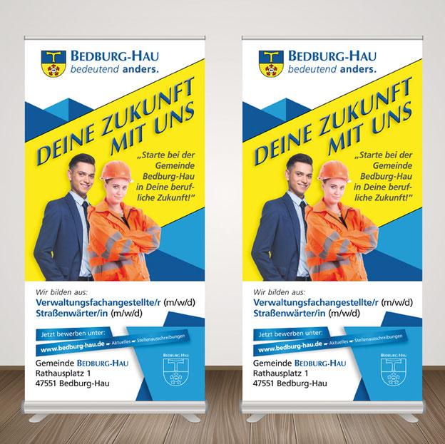 Rollup Banner der gemeinde Bedburg-Hau werben auf der  Klever Ausbildungsplatzbörse