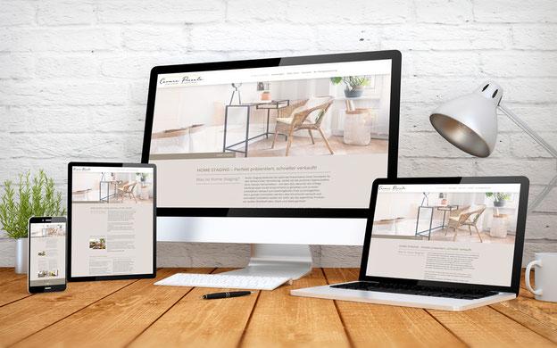 Homepage Ansicht von Frau Carmen Pizzuto mit Home Staging, auf verschiedenen Devices