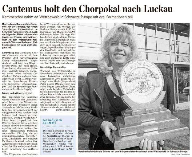 Lausitzer Rundschau vom 2.5.2016