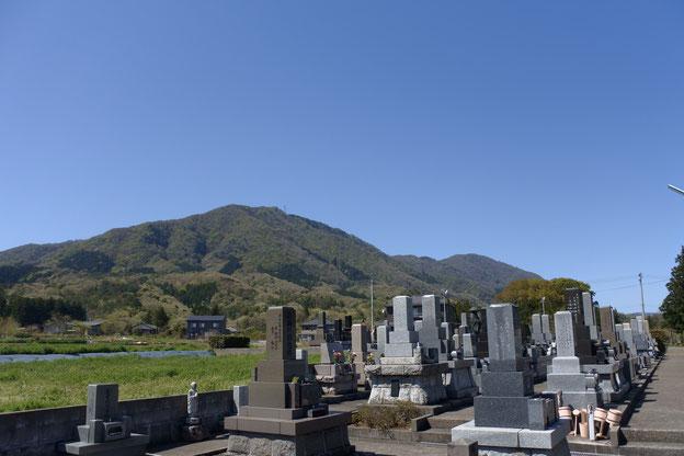 墓地から望む弥彦山