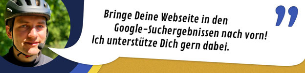 """Titelbild onpage SEO: """"Bringe Deine Webseite in den Google-Suchergebnissen nach vorn! Ich unterstütze Dich gern dabei."""""""