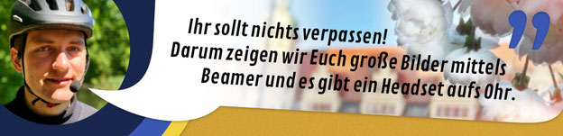 """Titelbild Stadtrundgang in Leipzig: """"Ihr sollt nichts verpassen! Darum zeigen wir Euch große Bilder mittels Beamer und es gibt ein Headset aufs Ohr."""""""