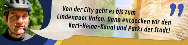 """Titelbild zur Brücken-Linie auf dem Segway """"Von der City geht es bis zum Lindenauer Hafen. Dann entdecken wir den Karl-Heine-Kanal und viel Industriekultur"""""""