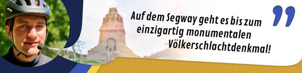 """Titelbild Völkerschlacht-Linie Segway Tour im Winter: """"Auf dem Segway geht es bis zum einzigartig monumentalen Völkerschlachtdenkmal!"""""""