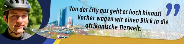 """Titelbild Aussichts-Linie auf dem Segway: """"Von der City aus geht es hoch hinaus! Vorher wagen wir einen Blick in die afrikanische Tierwelt."""""""