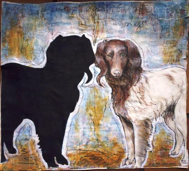 Der Schatten macht nicht, was er sollte. Würde der Hund es merken? Zeichnung in Mischtechnik, 60 x 50 cm.