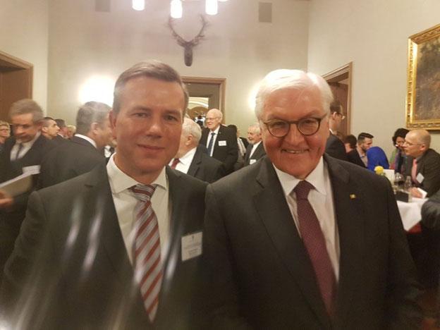 Bundespräsident Walter Steinmeier und Bürgermeister Nico Schulz beim Amtsantrittsbesuch des Bundespräsidenten in Sachsen-Anhalt