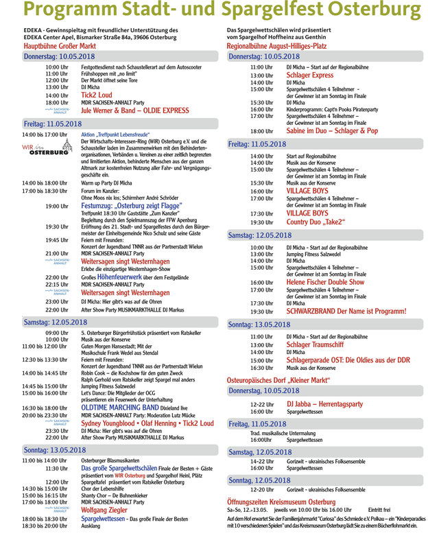 Stadt- und Spargelfest Osterburg - Programm 2018