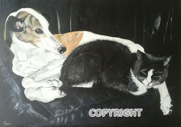 Hundeporträt, Katzenporträt: weiß-brauner Galgo liegt mit schwarzer Katze auf einem schwarzen Ledersofa , Tiermalerei, gemalte Tierportraits nach Fotovorlage, Tiere zeichnen lassen