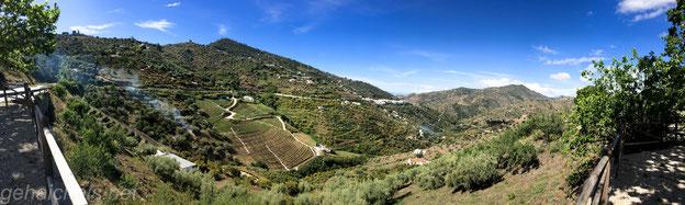 Panorama kurz hinter Sayalonga mit Blick Richtung Mittelmeer