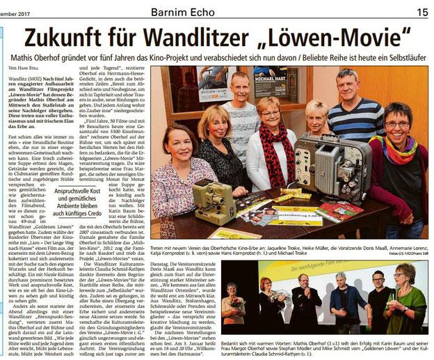 Zeitungsartikel zum neuen Löwen-Movie-Verein in Wandlitz