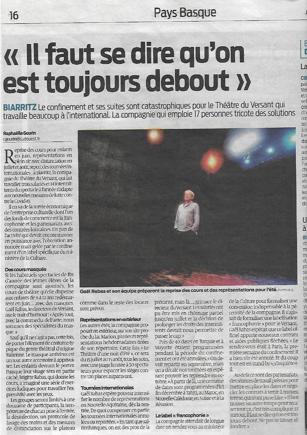 Théâtre du Versant - Biarritz - Article Sud Ouest - Cours de théâtre - Tournée - Spectacles théâtre