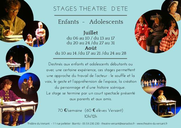 Stages théâtre - enfants - adolescents - Théâtre du Versant - Biarritz