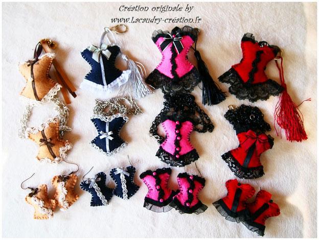 Bijoux corset en feutrine parue 3 pièces