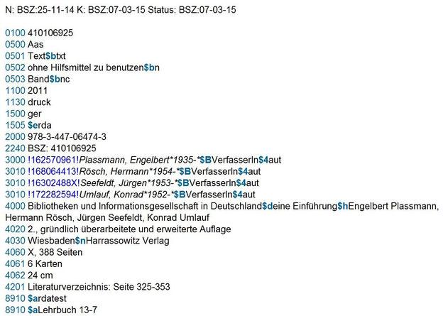 Screenshot eines Beispiels aus dem Lehrbuch in der RDA-Testdatenbank des SWB