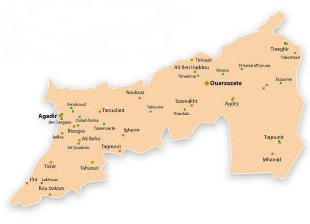Carte du Souss Massa au Drâa-Tafilalet