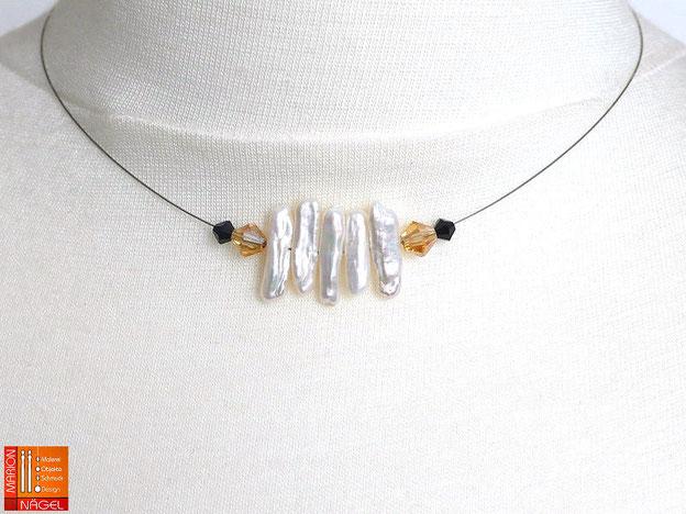Halskette mit Zuchtperlenstäbchen und Glasschliffperlen weiß gelb schwarz