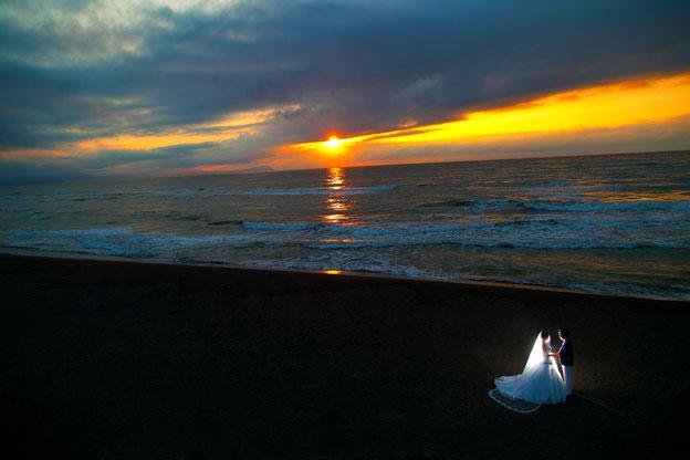 北海道でのロケーション撮影 あそびーち石狩 夕景