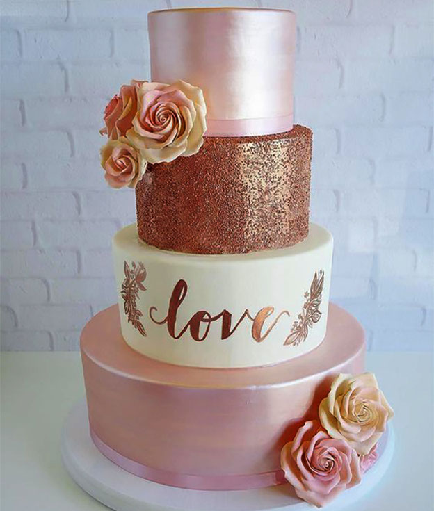 pastel elegantes para boda tamaño mediano