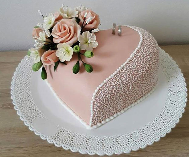 torta para boda elegante tamaño chico